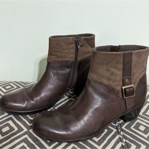 Clarks Suede and Leather Buckle Boots